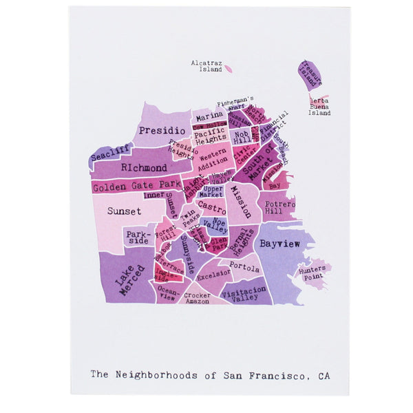 Map of San Francisco Note Card
