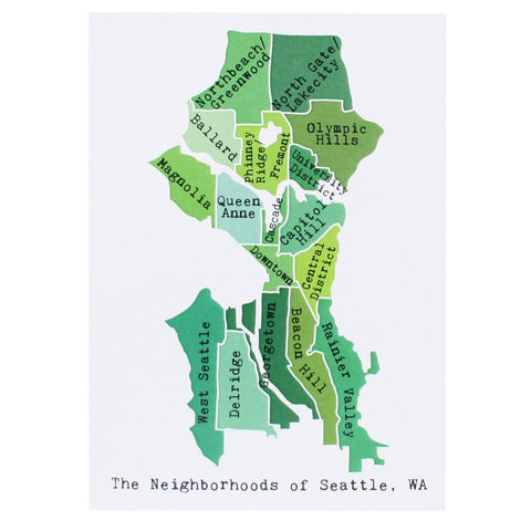 Map of Seattle Note Card