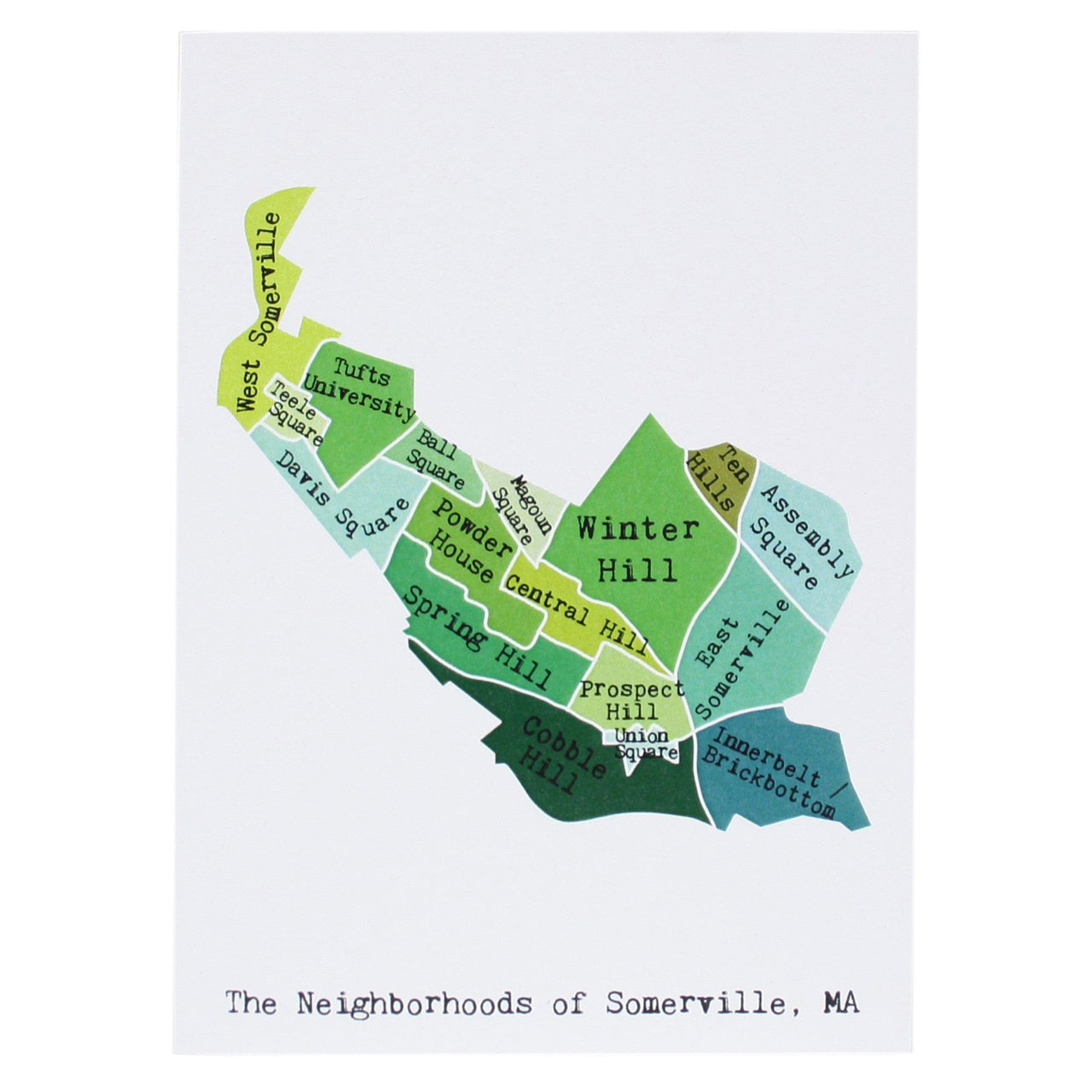 Map of Somerville Note Card