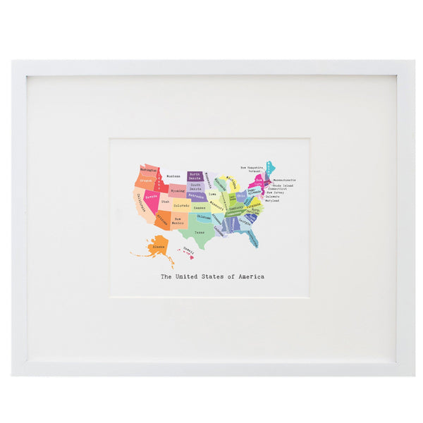 Map of the United States Art Print