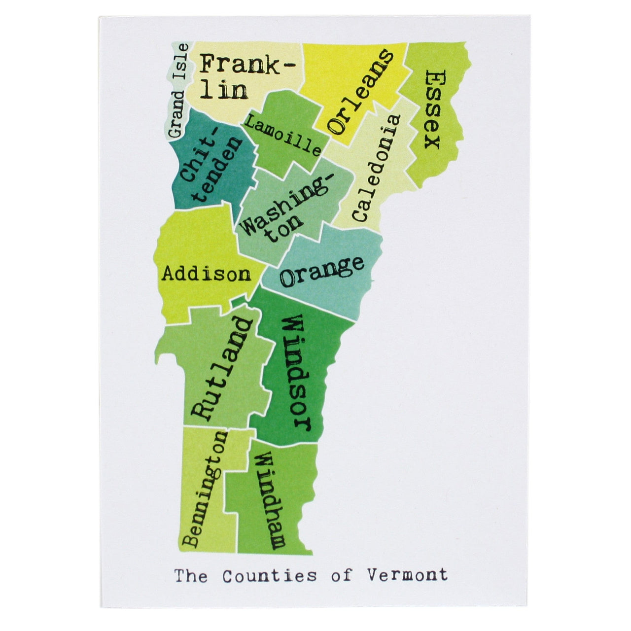 Map of Vermont Note Card