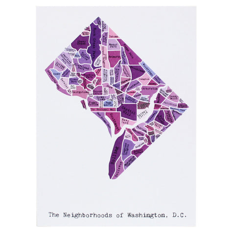 Map of Washington DC Note Card