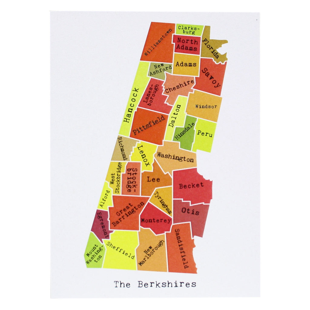 Map of the Berkshires Note Card