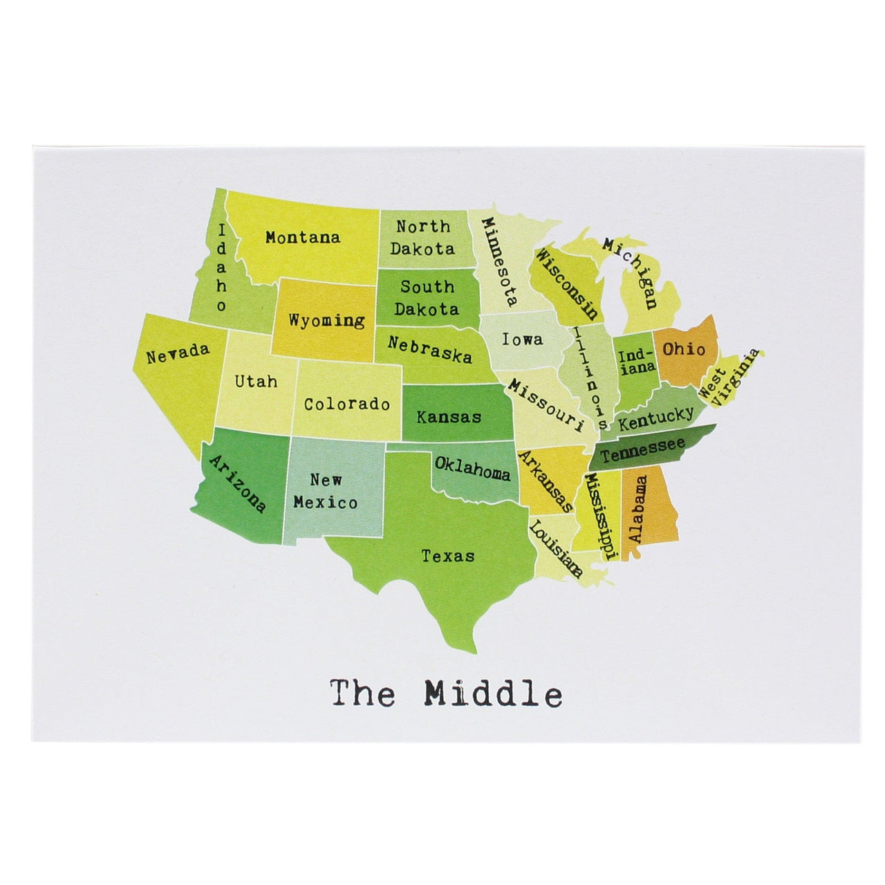 Map of the Middle States Note Card