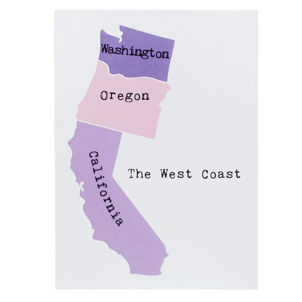 Map of the West Coast Note Card