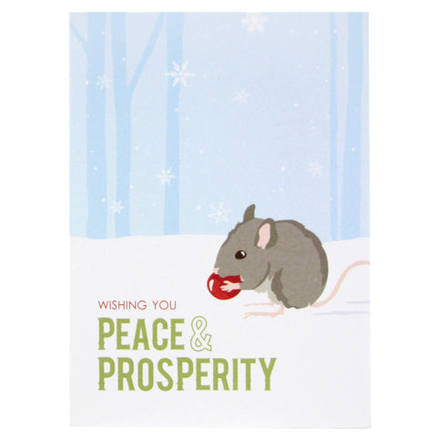 Mouse with Berry Holiday Card