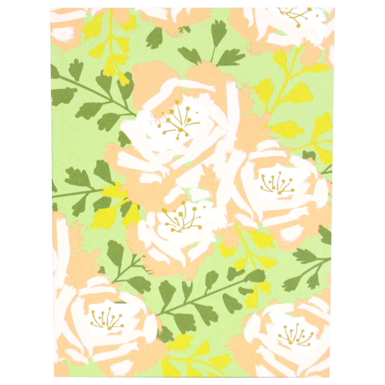 English Roses Notebook In Lime Green