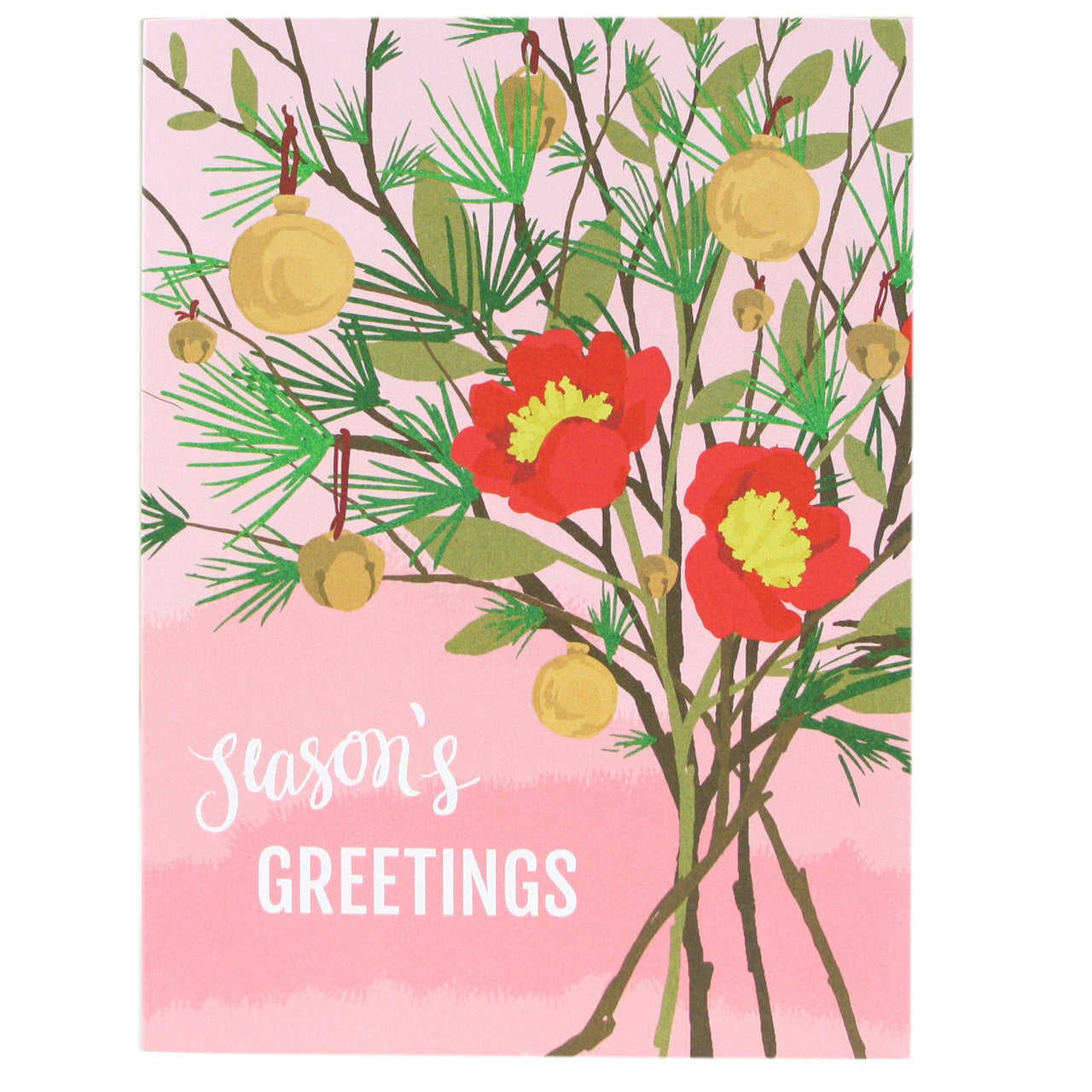 Pine Branches Floral Holiday Card