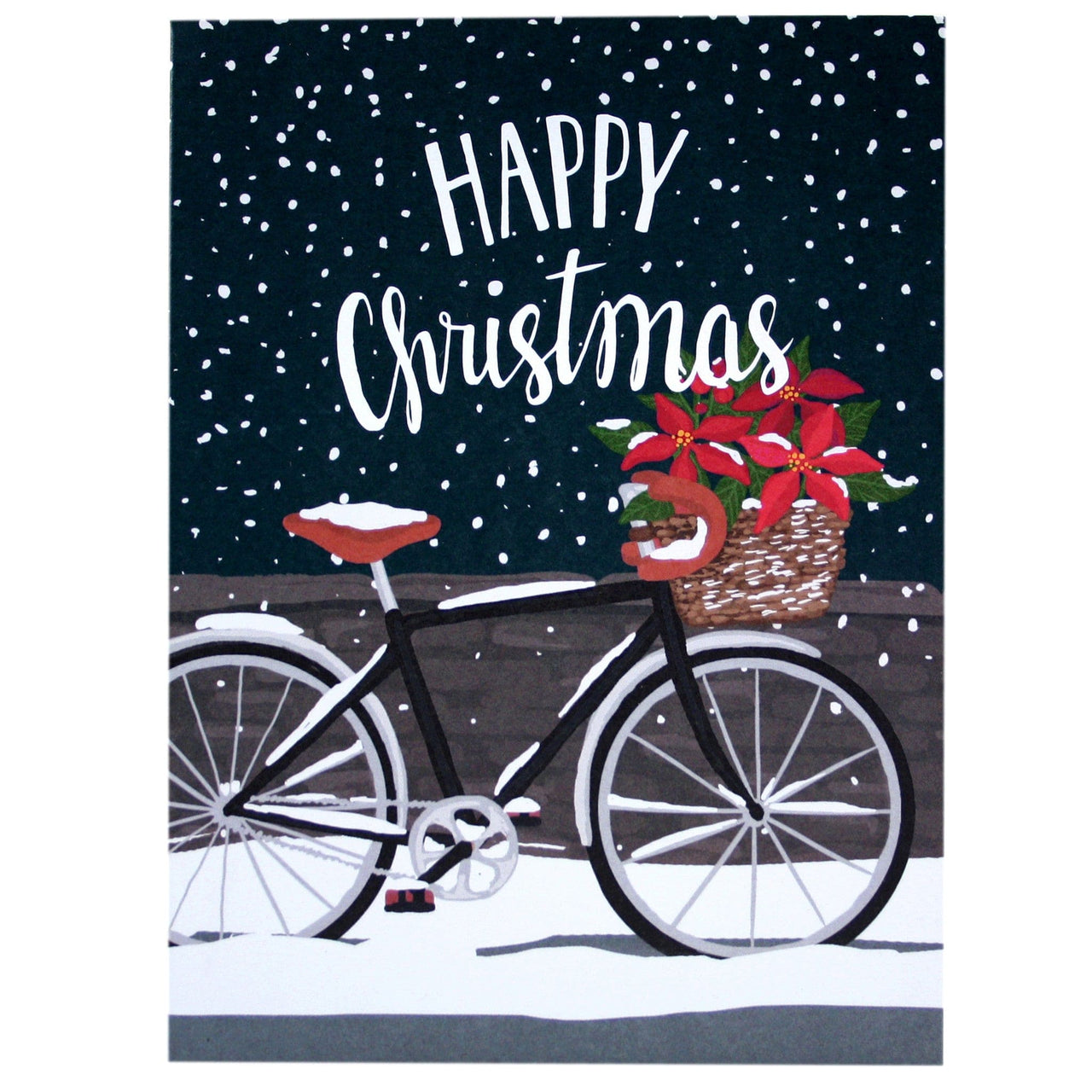 Poinsettia Bicycle Christmas Card | Merry Christmas Cards | Smudge ...