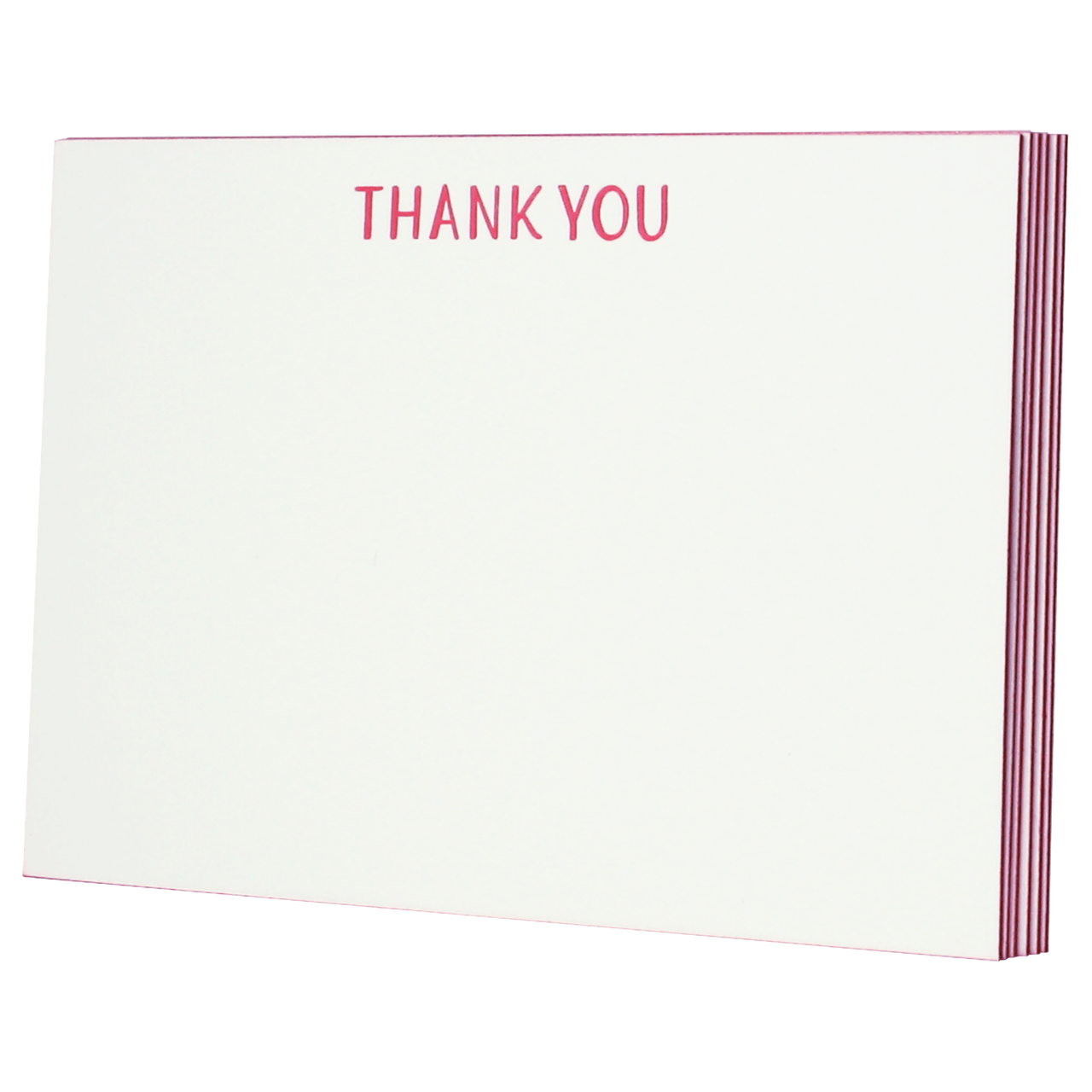 Cherry Red Edge Painted Thank You Notes