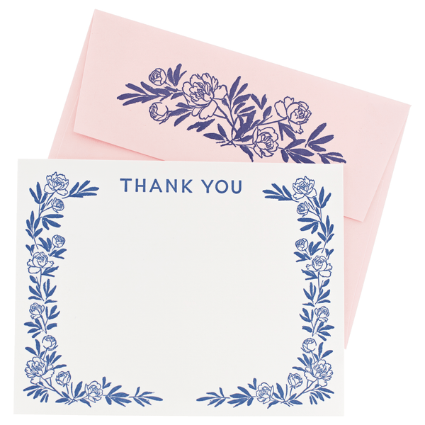 Peony Note Cards with Letterpress Envelopes
