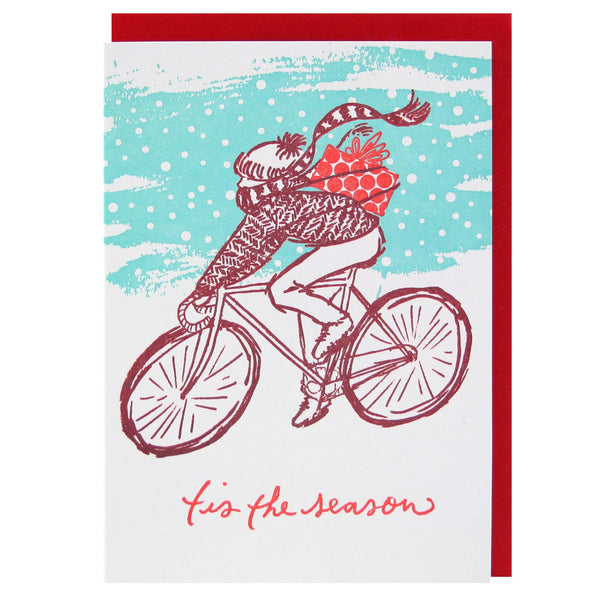 Snowy Bike Ride Holiday Card
