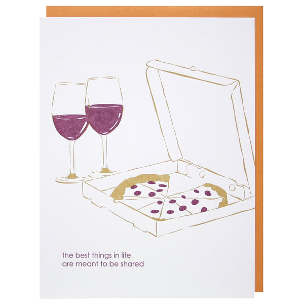 Pizza and Wine Love Card