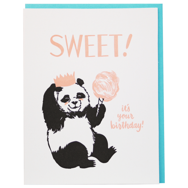 Cotton Candy Panda Birthday Card