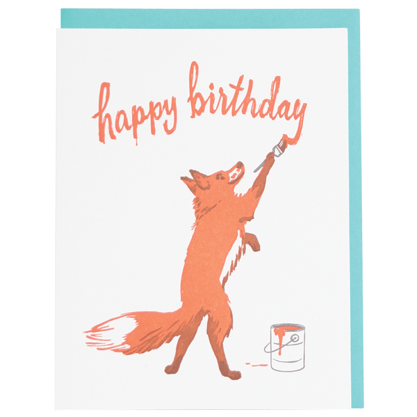Fox Painter Birthday Card