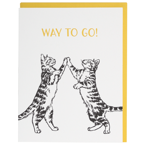 Cat High Five Congratulations Card