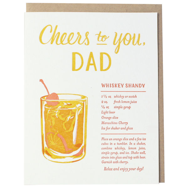 Whiskey Shandy Recipe Father's Day Card