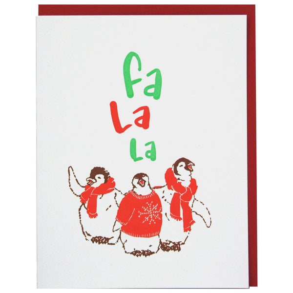 Caroling Penguins Holiday Card