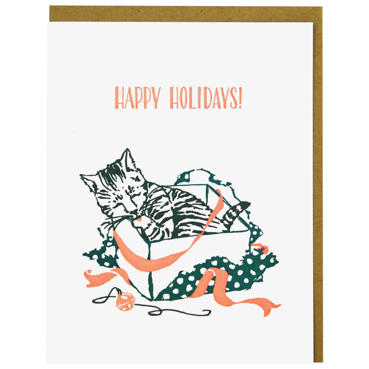 Striped Kitten Holiday Card