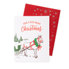 Horse and Sleigh Christmas Card with Printed Envelope