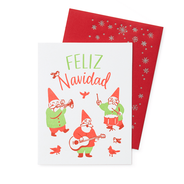 Musical Gnomes Christmas Card with Printed Envelope