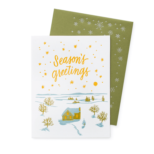 Cozy Cabin Holiday Card with Printed Envelope