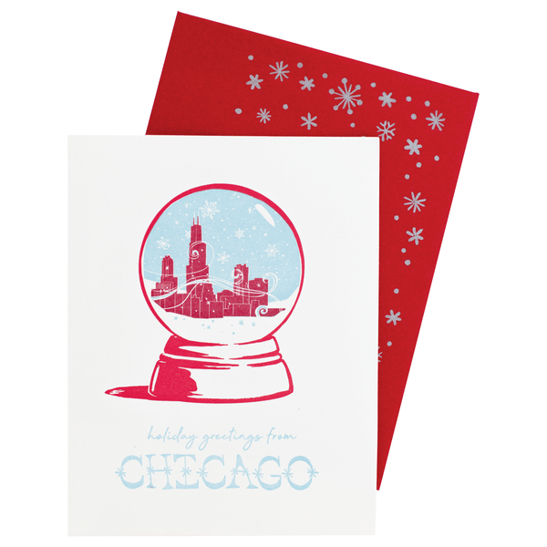 Chicago Snow Globe Holiday Card | Smudge Ink