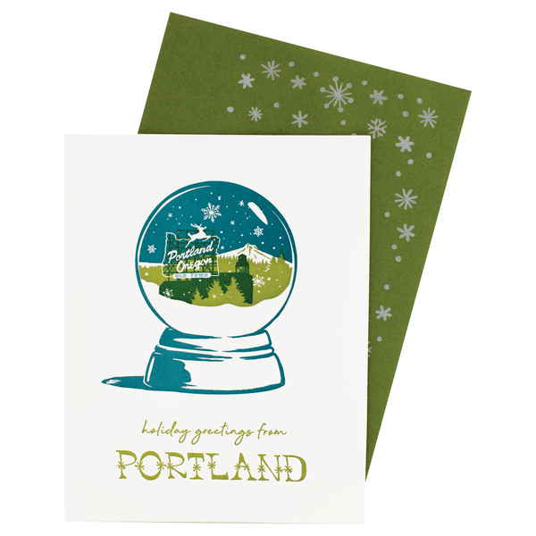 Portland, OR Snow Globe Holiday Card with Printed Envelope