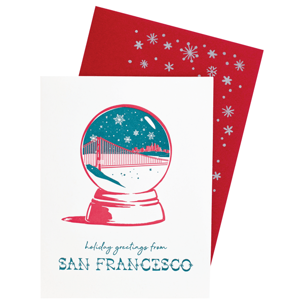 San Francisco, CA Snow Globe Holiday Card with Printed Envelope