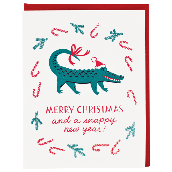 Alligator Santa Christmas Card | Smudge Ink