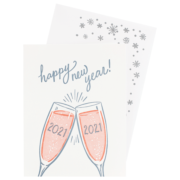 2021 Blush Champagne New Year Card with Printed Envelope