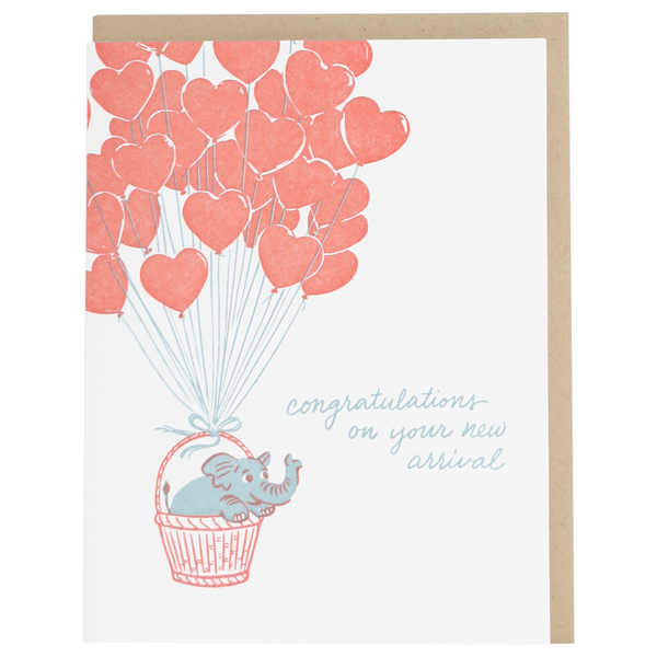 Elephant and Balloons Baby Card