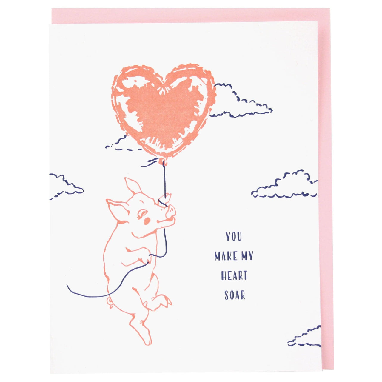 Pig With Balloon Love Card