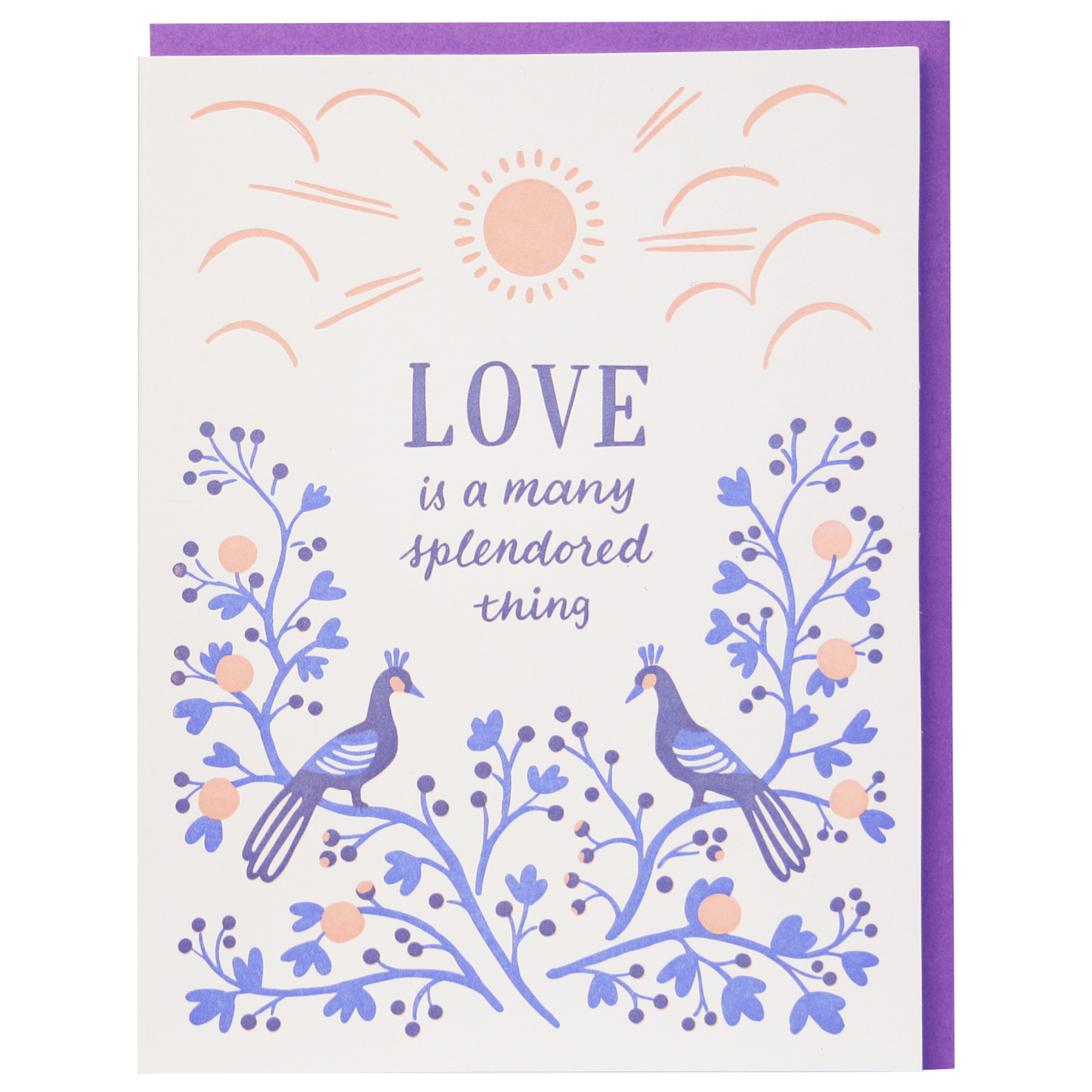 Peacocks at Dusk Wedding Card