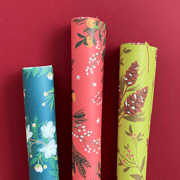 Winter Florals Gift Wrap Set