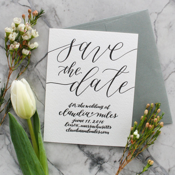 Modern Hand Lettering Save the Date