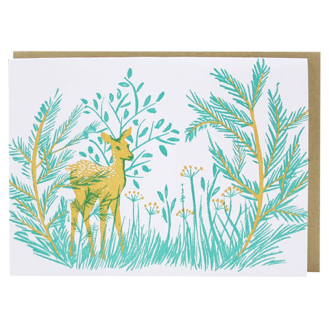 Deer in Forest Note Card