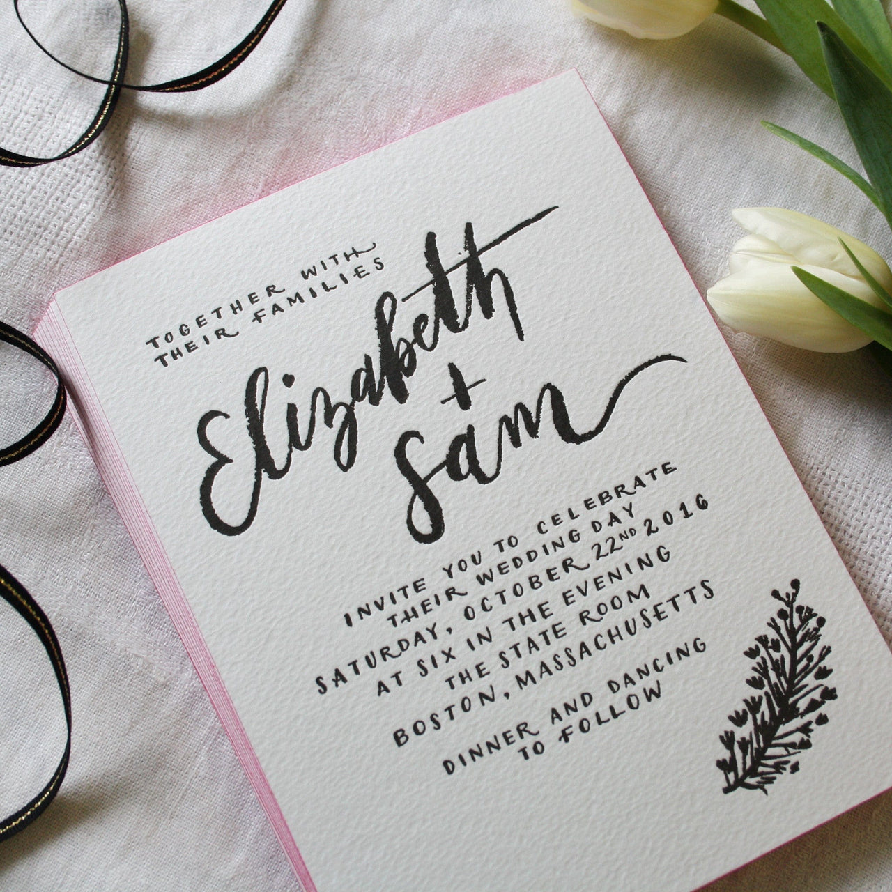 Painted Edge Calligraphy Letterpress Wedding Invitation