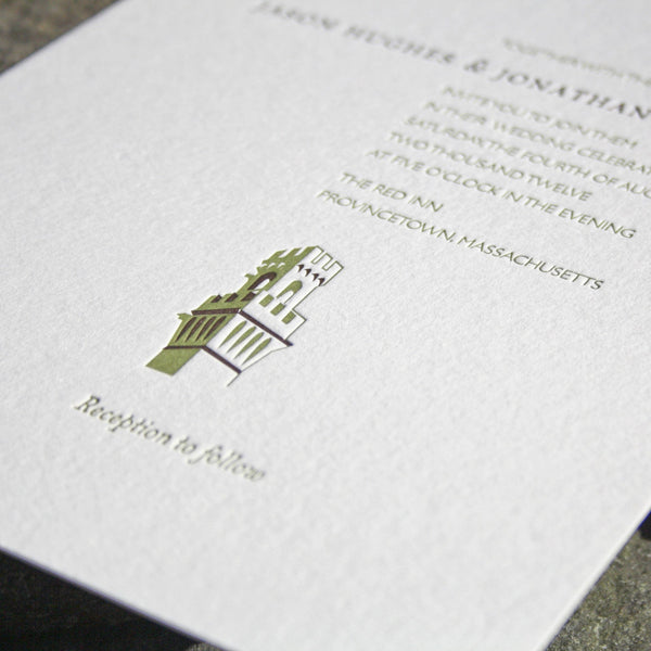 Monument Letterpress Invitation Close Up