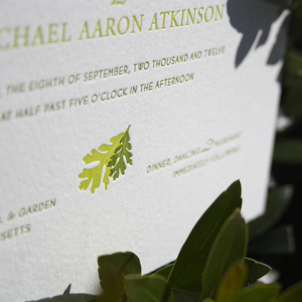Olin Letterpress Invitation Close Up