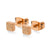 Stainless Steel Square Cube Shape Glittery Cute Stud Earrings - Monera-Design Co., Ltd
