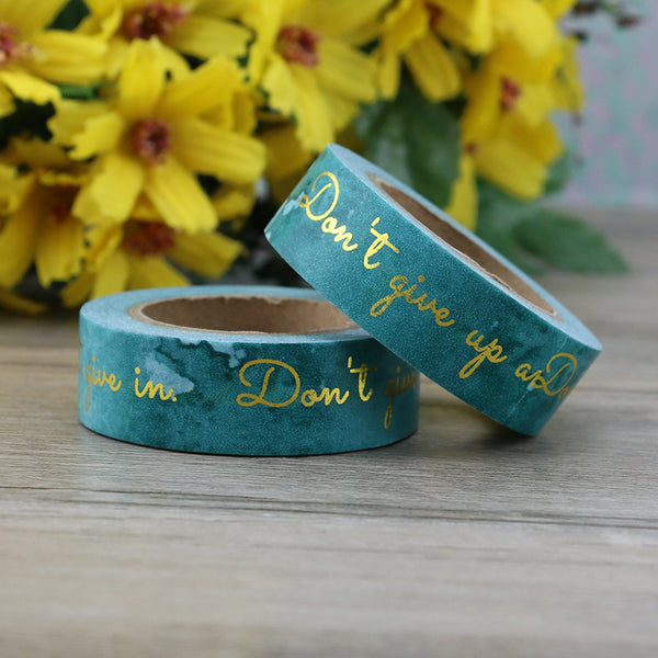 Washi Tape - Teal & Gold Message