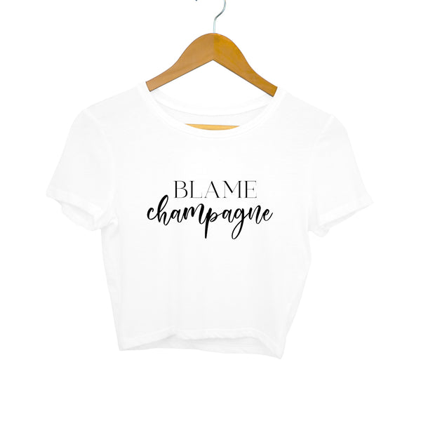 Crop Top - Blame Champagne - White