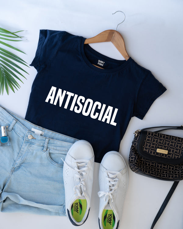 Crop Top - Antisocial - Navy Blue