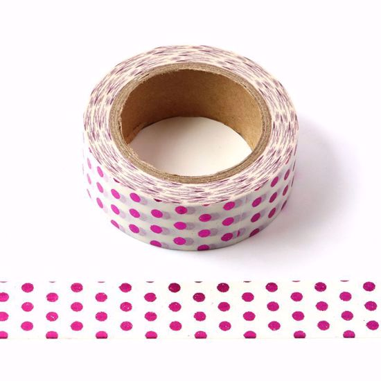 Washi Tape – Pink Metallic Polka