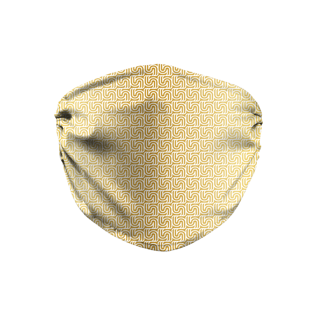 Gold White Mod Geometric 6  Face Mask