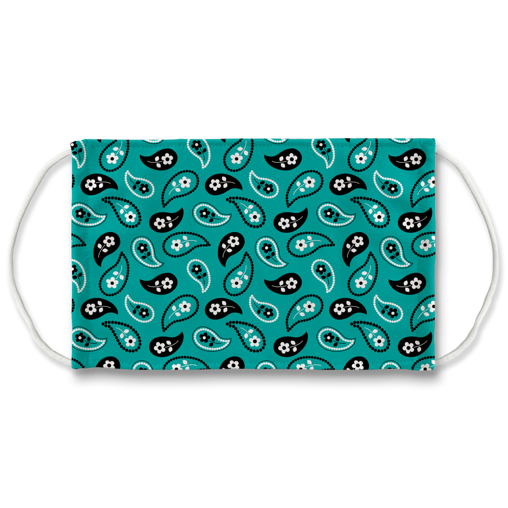 Turquoise Blue Bandana Pattern 11  Face Mask