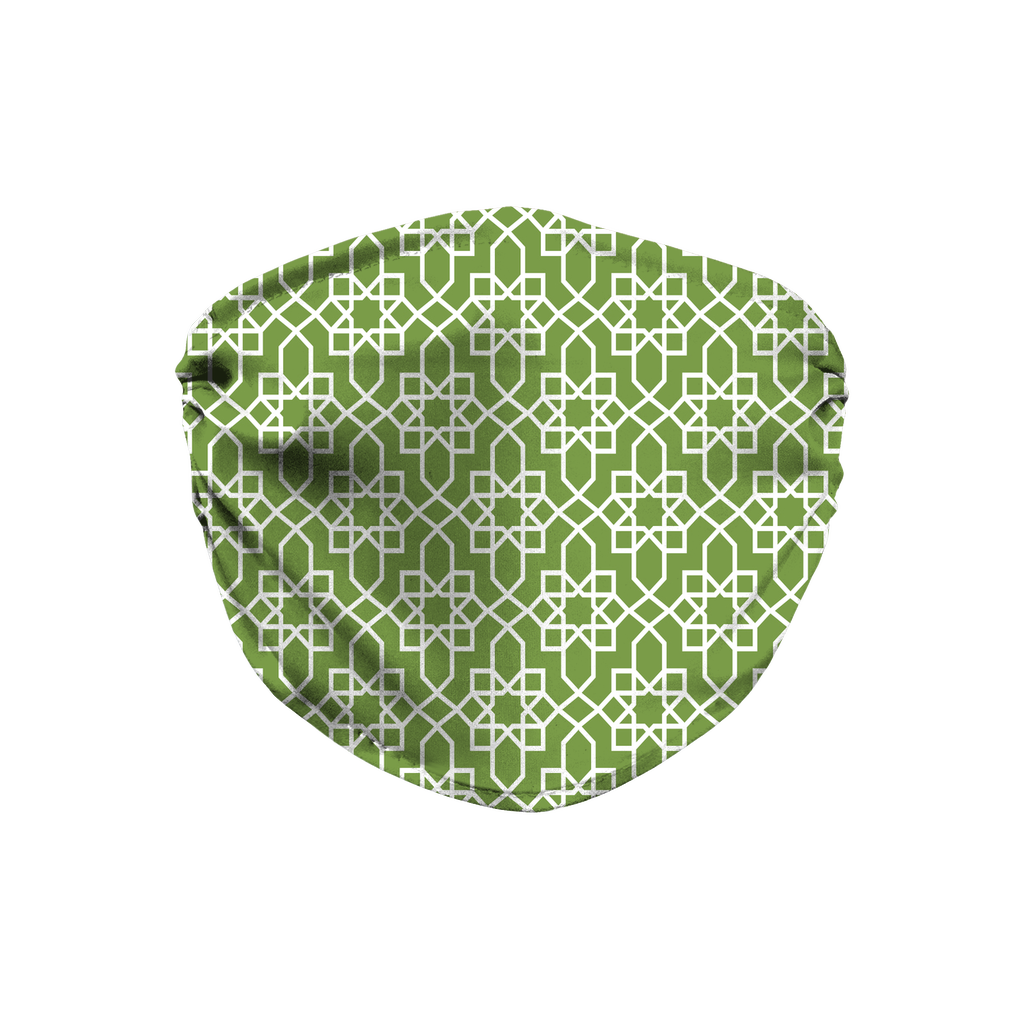 Green Moroccan Pattern 10  Face Mask