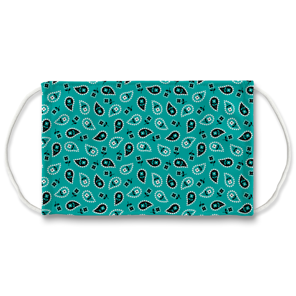 Turquoise Blue Bandana Pattern 6  Face Mask