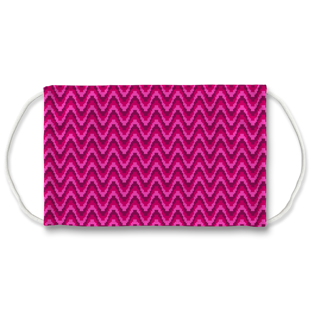 Red Pink Bargello Pattern 1  Face Mask